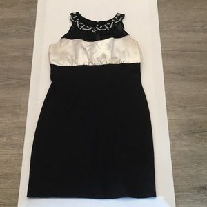 Cream and black evening dress